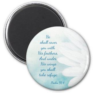 Aimant Le refuge de 91:4 de psaume d'écriture sainte sous