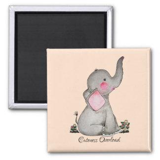 Aimant L'éléphant mignon de bébé d'aquarelle avec