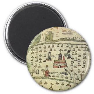 Aimant L'empire aztèque de Montezuma, carte antique du