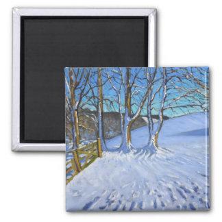 Aimant L'hiver de porte et d'arbres endiguent la ruelle