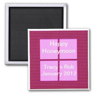 Aimant Lune de miel heureuse - banque de mémoire carrée
