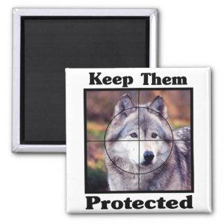 Aimant Maintenez-les protégés - loup