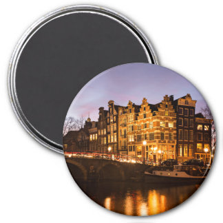 Aimant Maisons de canal d'Amsterdam à l'aimant rond de