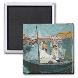 Aimant Manet | Monet dans son studio de flottement, 1874