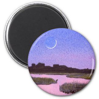 Aimant Marais de crépuscule de croissant de lune et de