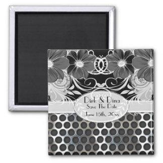 Aimant Mariage viril floral féminin noir et gris en métal