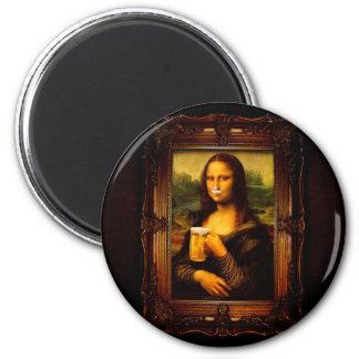 Aimant Mona Lisa - bière de Mona Lisa - Lisa-bière drôle