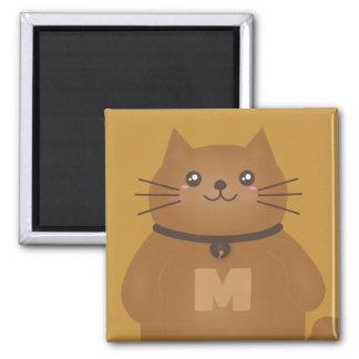 Aimant Monogramme lunatique d'amoureux des chats mignon