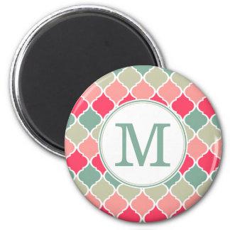 Aimant Motif marocain vert rose décoré d'un monogramme de
