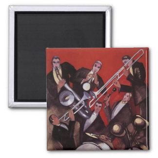 Aimant Musique vintage, bloquer musical de jazz-band