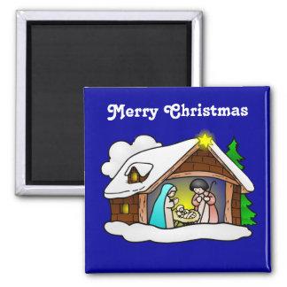 Aimant Nativité mignonne de bande dessinée de Noël