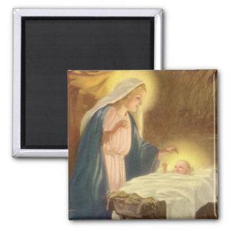 Aimant Nativité vintage de Noël, bébé Jésus de Mary