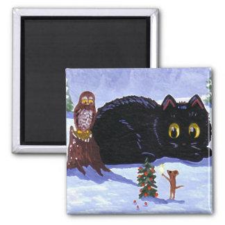 Aimant Noël drôle Creationarts de hibou de souris de chat
