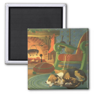 Aimant Noël vintage, animaux de sommeil par la cheminée
