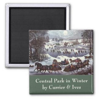Aimant Noël vintage, Central Park en hiver
