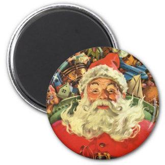 Aimant Noël vintage, le père noël dans Sleigh avec des