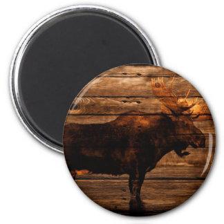 Aimant orignaux en bois de taureau de faune affligés par