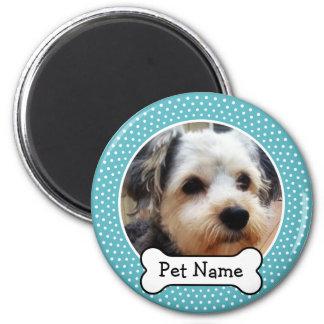 Aimant Os de chien et cadre bleu de photo d'animal
