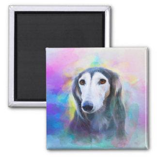 Aimant Peinture pour aquarelle d'art de chien de lévrier