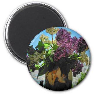 Aimant Pique-nique de lilas et de soeurs de vase