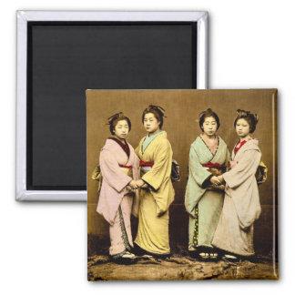 Aimant Portrait vintage quatre du geisha vieux Japon