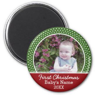 Aimant Première photo de Noël du bébé - rouge et vert
