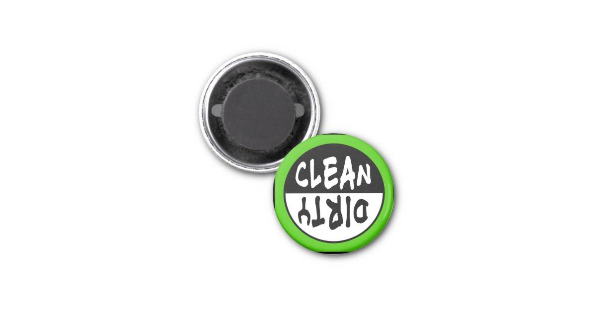 aimant propre sale de lave vaisselle en vert et bw zazzle. Black Bedroom Furniture Sets. Home Design Ideas