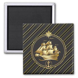 Aimant Rayures métalliques d'or d'or de bateau et d'ancre