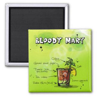 Aimant Recette de Mary sanglante - cadeau de cocktail
