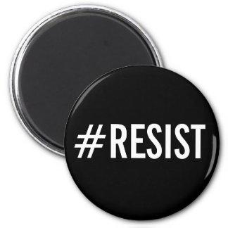 Aimant #Resist, texte blanc audacieux sur l'aimant noir
