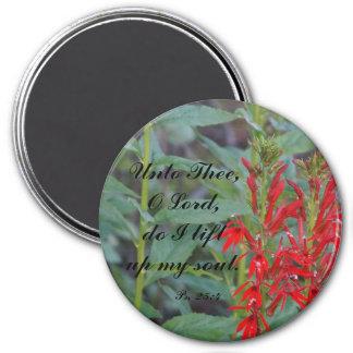 Aimant rond d'éloge florale rouge