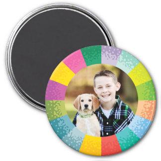 Aimant rond lumineux de photo de roue de couleur