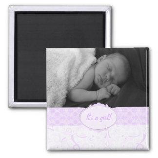 Aimant Rose c'est une photo de bébé personnalisée par