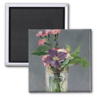 Aimant Roses de Manet | et clématite dans un vase en
