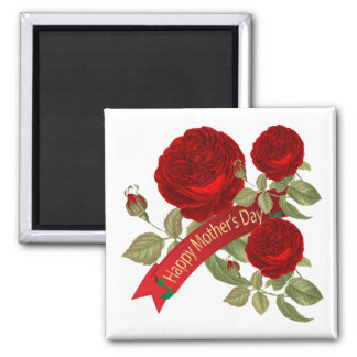 Aimant Roses rouges heureux du jour de mère