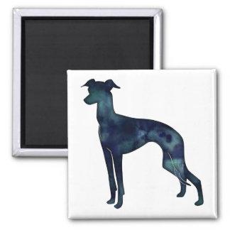 Aimant Silhouette d'aquarelle de noir de chien de lévrier