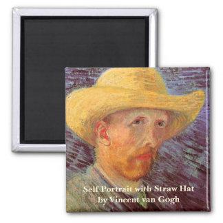 Aimant Van Gogh ; Autoportrait avec le chapeau de paille