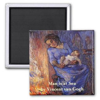 Aimant Van Gogh, homme est en mer, art vintage