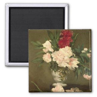 Aimant Vase à Manet | de pivoines sur un petit piédestal,