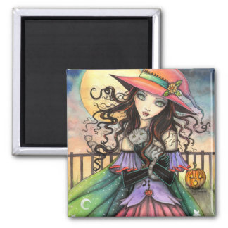 Aimant Vents d'art d'imaginaire de sorcière de Halloween