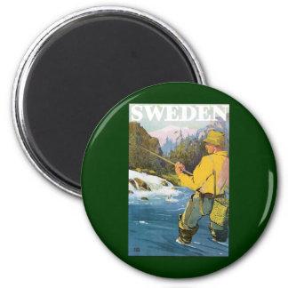 Aimant Voyage vintage vers la Suède, pêche de sports de