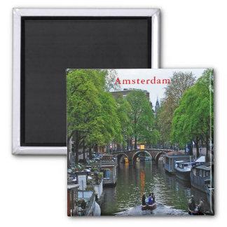 Aimant Vue d'un des canaux d'Amsterdam