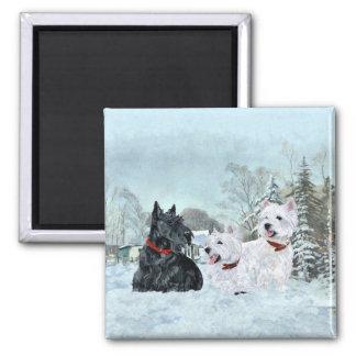 Aimant Westies et Scottie dans l'hiver