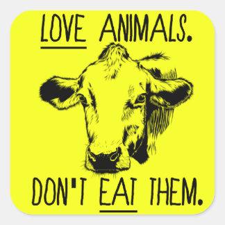 Aimez les animaux, ne les mangez pas autocollant