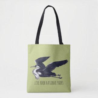 Aimez votre sac fourre-tout gris à héron de parcs