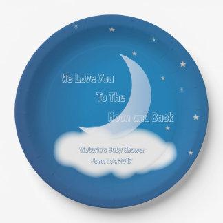 Aimez-vous à la lune et au dos - BOY/GIRL bleu Assiettes En Papier