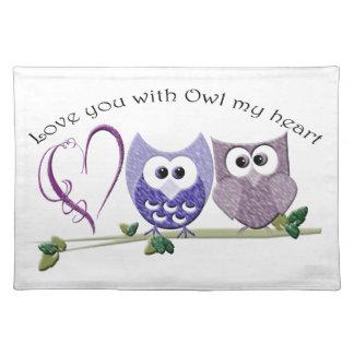 Aimez-vous avec le hibou mon coeur, cadeaux mignon set de table