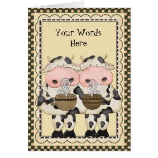 Carte Ajoutez la carte de voeux de vache à café de mots