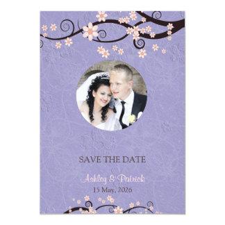 Ajoutez vos prisonniers de photo du mariage violet carton d'invitation  12,7 cm x 17,78 cm