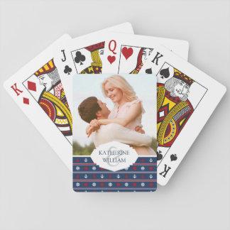 Ajoutez votre bagouts nautiques blancs et bleus | cartes à jouer